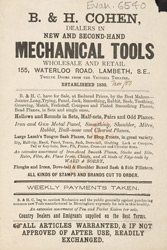 Advert For B. & H.Cohen, Mechanical Tools